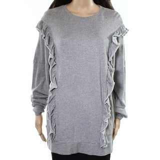 Abound Heather Womens Ruffle-Detail Pullover Sweater $29