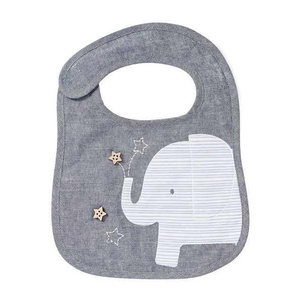 Grey Elephant Chambray Baby Toddler Cloth Bib