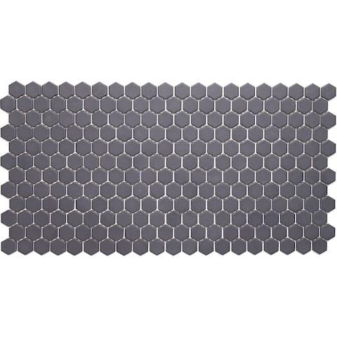 Porcelain 1-inch Hexagon Mosaic Tile in Black - 12x24