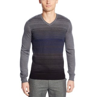 Calvin Klein CK Sweater XX-Large Black and Gray Combo Striped V-Neck - 2XL
