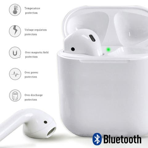 Stereo Sync Bluetooth 5.0 Wireless Mini Headphones Voice Prompts Charging Box Long Life Battery - iPhone&Android