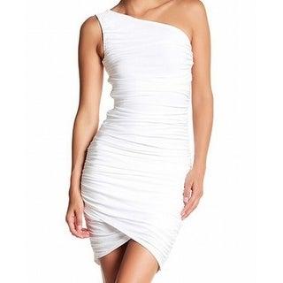 Soprano NEW White Womens Large L One-Shoulder Stretch Bodycon Dress