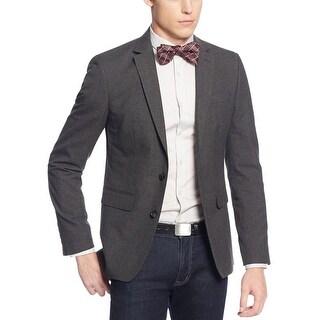 Bar III Slim Fit Charcoal Mini Houndstooth 2-Button Sportcoat Blazer