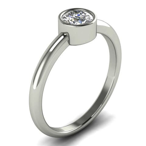 0.40 CT Classic Bezel Diamond Solitaire Engagement Ring in 14KT Gold