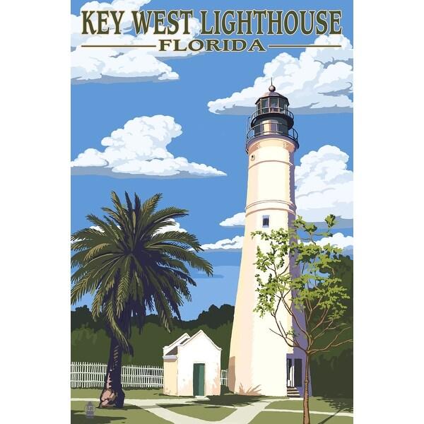 Key West Lighthouse, FL - Day Scene - LP Artwork (Acrylic Wall Clock)