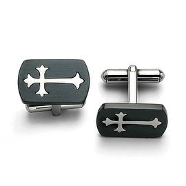 Chisel Stainless Steel Black Plated with Polished Cross Cuff Links