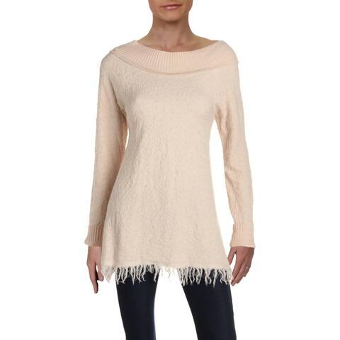 Free People Womens Needle And Thread Pullover Sweater Merino Wool Ruffled