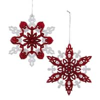Club Pack of 24 Nordic Red and White Glitter Snowflake Christmas Ornaments 5""