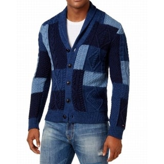 Tommy Hilfiger NEW Blue Mens Size XL Cardigan Shawl Collar Sweater