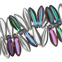 Czech Glass, Drop Beads 5x16mm, 25 Pieces, Backlit Spectrum