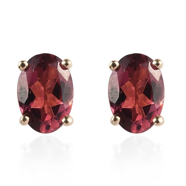 Shop LC Yellow Gold Oval Rubellite Stud Elegant Earrings Cttw 1. Opens flyout.