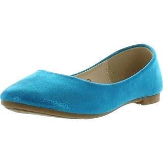 Bellamarie Dana-22K Girl Kids Dress Ballet Flat Slip On Comfortable Ballerina Synthetic Suede Shoes