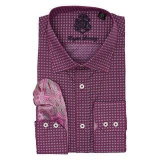 English Laundry Purple Print Long Sleeve Button Down Dress Shirt