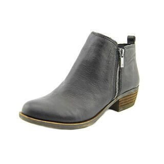 Lucky Brand Basel Women Round Toe Leather Black Bootie