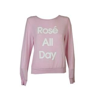 Dream Scene Pink White Rose Graphic Sweater L