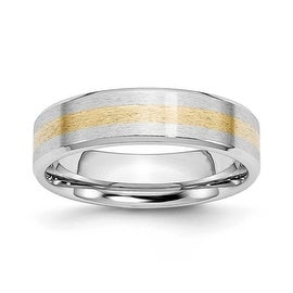 Chisel Cobalt Chromium 14k Gold Inlay Satin/Polish 6mm Band
