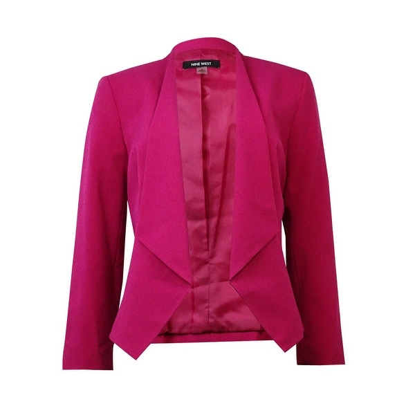 Nine West Women's Solid Collarless Open Front Blazer - berry harvest