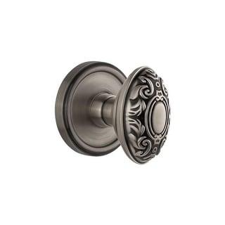 "Grandeur GEOGVC_PRV_234  Georgetown Solid Brass Rose Privacy Knob Set with Grande Victorian Knob and 2-3/4"" Backset"