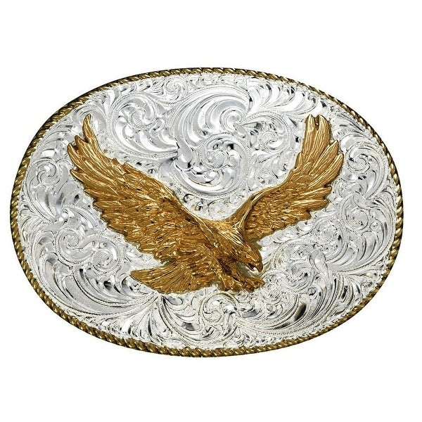 Crumrine Western Belt Buckle Patriotic Flying Eagle Silver Gold - 3 1/4 x 4 1/4