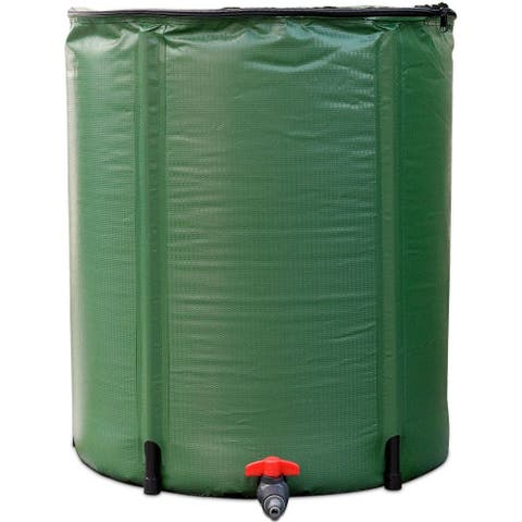 Portable 60-Gallon Rain Barrel Collapsible with Zippered Top in Green Color - As Described