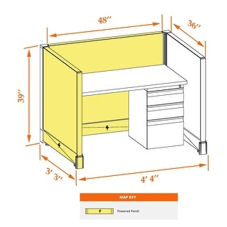 Small Cubicles 39H Powered (3x4 - Espresso Desk Silver Paint - Assembly Required)