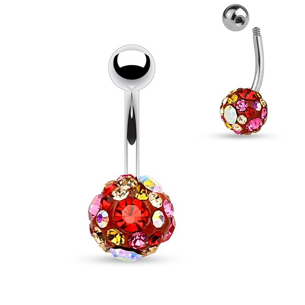 "Red Crystal Pave 10mm Ferido Ball Surgical Steel Belly Button Navel Ring-14GA-3/8"" Length (Sold Ind)"