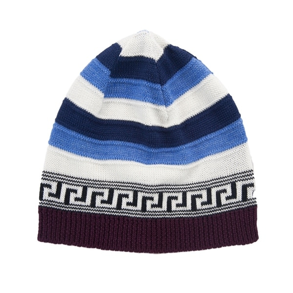 Shop Versace VHB0386 002 Blue White Knitted Wool Blend Beanie Hat - Free  Shipping Today - Overstock.com - 13361641 65d9fb6e223