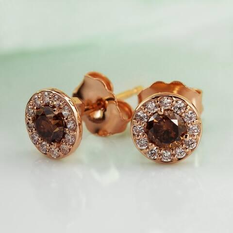 Auriya 1/2 to 2ctw Brown Diamond Halo Stud Earrings 14k Rose Gold