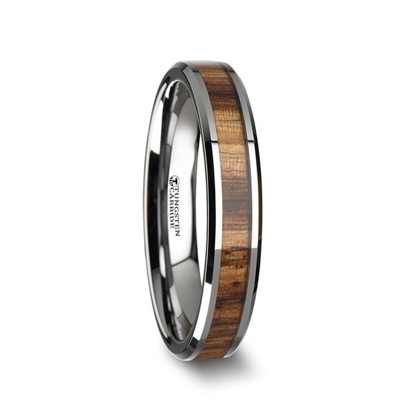 THORSTEN - PALMALETTO Tungsten Carbide Ring with Beveled Edges and Real Zebra Wood Inlay - 4mm