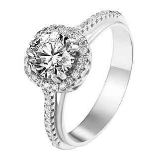 Sterling Silver Round Cut Halo Ring Lab Diamonds Engagement Wedding SZ 6-8