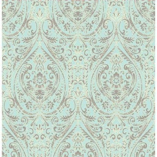 Brewster 1014-001866 Gypsy Turquoise Damask Wallpaper - gypsy turquoise