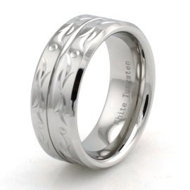 Hand Carved White Tungsten Beveled Ring w/ Grooved Center Tribal Design