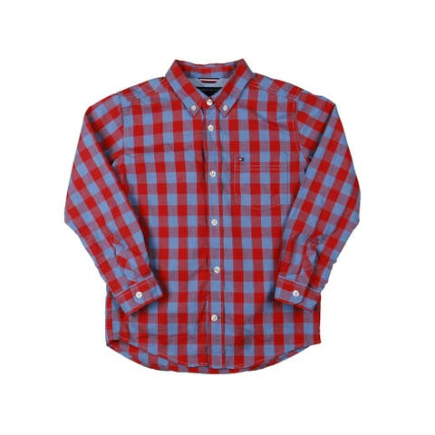 Tommy Hilfiger Boys Button-Down Shirt Youth - Red/Blue - 7