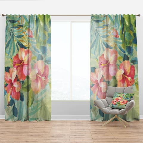 Designart 'Hibiscus Garden III' Traditional Curtain Panel