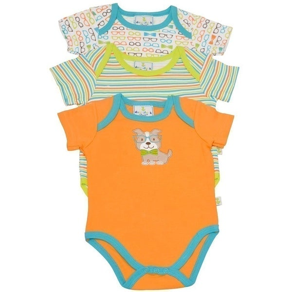 Duck Duck Goose Baby Boys Orange Dog Stripe Sunglasses 3 Pc Bodysuit Set