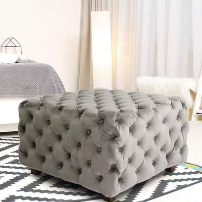 Adeco Grey Square Tufted Fabric Bench Footstool