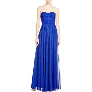 JS Collections Womens Evening Dress Mesh Strapless