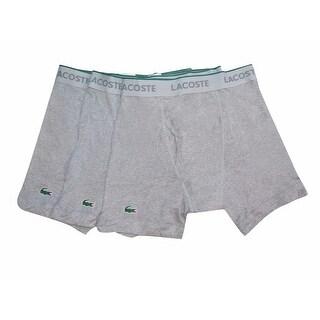 LACOSTE Men's Gray 100% Cotton Knit Boxer Brief 3 Pack