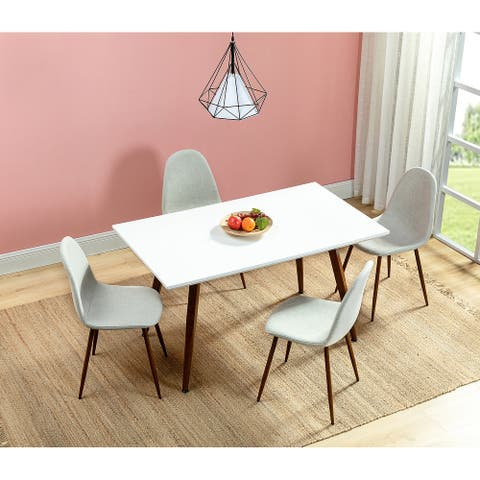 Dahsh White Dining Table with Coffee Metal Legs