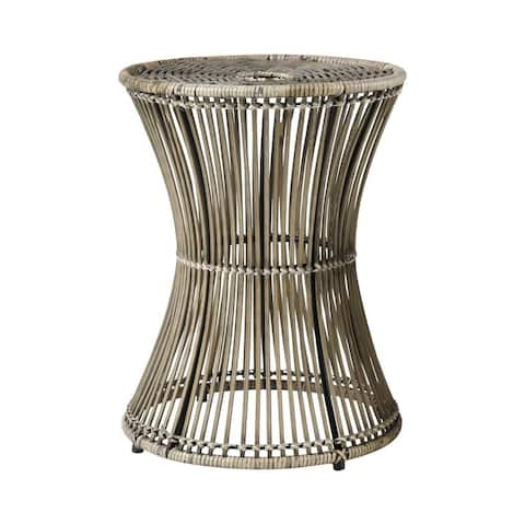 Round End/Side Table in Brown Black finish with Drum Style Bottom - Material Iron Rattan