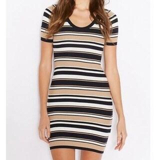 Miss Selfridge NEW Beige Womens Size 8 Navy Striped Rib Sheath Dress
