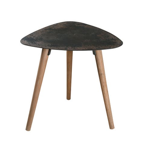 """Langdon Accent Table with Rust and Distressed Wood - 23"""" x 23"""""""
