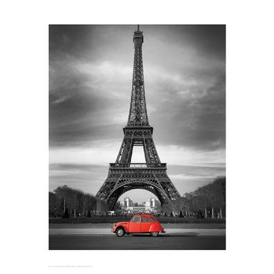 ''Retro Red and the Eiffel Tower'' by Anon Photography Art Print (17 x 13.5 in.)