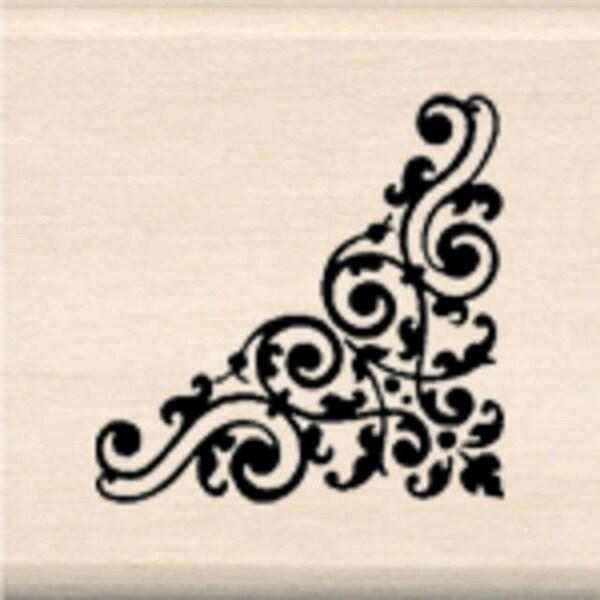 "Inkadinkado Mounted Rubber Stamp 1""X1""-Swirl Corner"