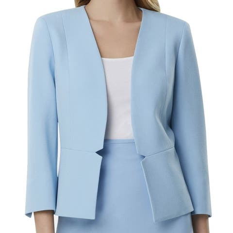 Tahari by ASL Women's Blue Size 16 Open Front Notch Waist Blazer