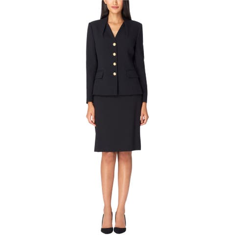 Tahari Womens Reverse Pleat Four Button Blazer Jacket, Black, 4