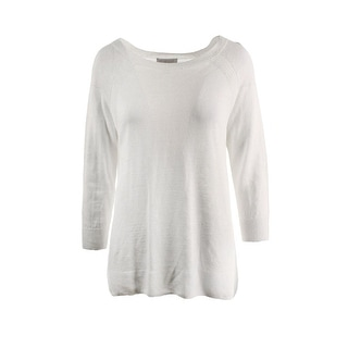 Dylan Gray Womens Linen Ribbed Trim Pullover Sweater