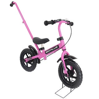 Goplus 12'' Kids Balance Bike No-Pedal Learn To Ride Pre Bike w Bike Stand Push Handle
