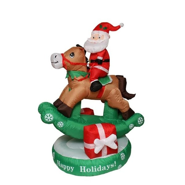5' Inflatable Animated Santa Claus on Rocking Horse Lighted Christmas Outdoor Decoration - multi