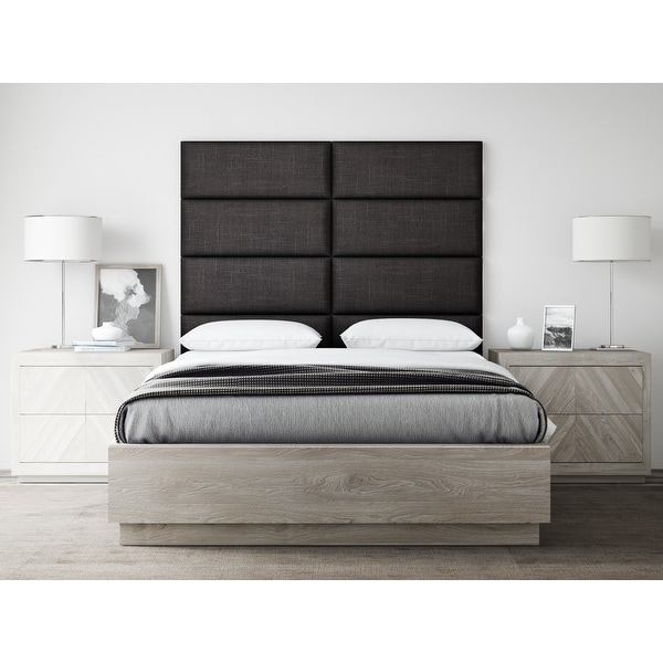 "VANT Upholstered Headboards - Accent Wall Panels - Packs Of 4 - Textured Cotton Weave Black Denim - 30"" Wide x 11.5"" Height."